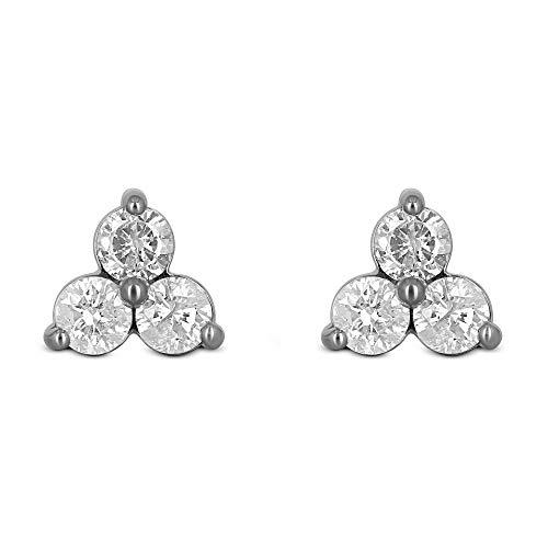 14K White Gold 3 Stone Natural Diamond Triangle Stud Earrings .18ct | Minimalist Lobe/Second Hole Earring - Si 0.18 Diamond Ct