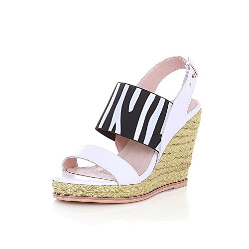 Amoonyfashion Donna Materiale Morbido Open Toe Tacchi Alti Fibbia Sandali Solidi Blackwhite