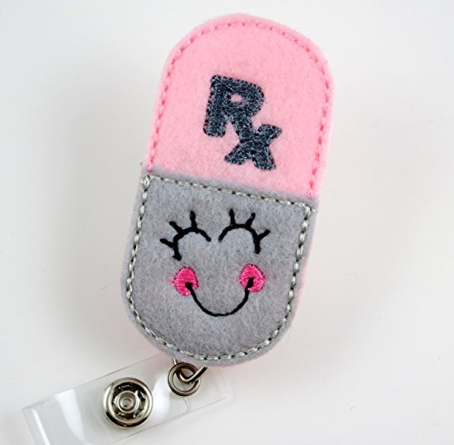 Smiley RX Pharmacy Pill- Nurse Badge Reel- Retractable ID Badge Holder - Nurse Badge - Badge Clip - Badge Reels - Pediatric - RN - Name Badge Holder