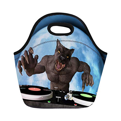 Semtomn Neoprene Lunch Tote Bag Lycan Dj Werewolf Is in the House and Mixing Reusable Cooler Bags Insulated Thermal Picnic Handbag for Travel,School,Outdoors, Work ()