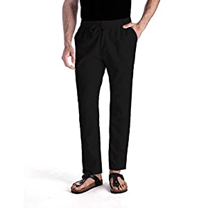 MUSE FATH Men's Linen Drawstring Casual Beach Pants-Lightweight Summer Trousers