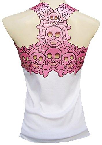 Rockabilly Punk Rock Baby Débardeur pour femme Blanc Rose Étui à rabat pour homme Tiki Cannibal crâne Sticker design