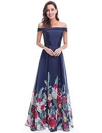 Shoulder Floral Print Evening Gown 07046