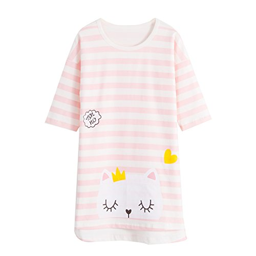 Big Girls' Kitty Nightgowns Cat Sleep Shirts Cotton Pajamas Pink 3/4 Sleeve