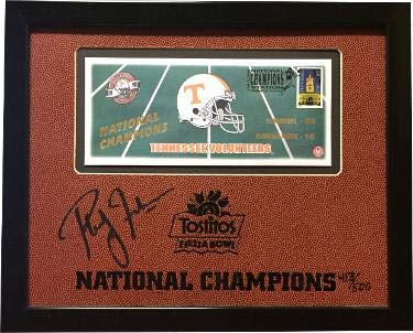 Phillip Fulmer signed Tennessee Volunteers 11X13.5 Custom Framed LTD 1999 National Champs Tostitos Bowl (Head Coach) Pass PSA/DNA Certified