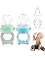 Baby Fruit Feeder Pacifier - Tinabless Fresh Food Feeder, Infant Fruit Teething Toy for 3-24 Months Toddlers & Kids, BPA Free, CPC Certified (Pig-Blue&Green)