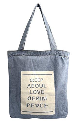 Peach Couture Denim Reusable Cotton Canvas Zipper Tote Laptop Beach Handbags Womens Mens Shoulder Bags (Peace Denim)