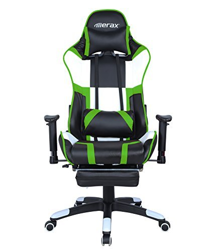 Merax Executive Swivel Gaming Chair High-Back Racing Chair with Adjustable Armrest/Lumbar Suppor/Headrest (Green)