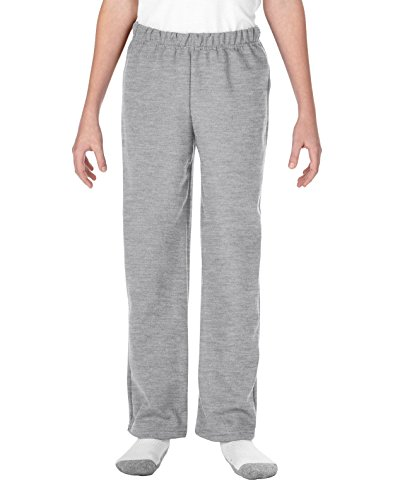 - Gildan unisex-child Big Open Bottom Youth Sweatpants, Sport Grey, Large