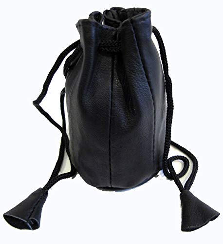 Lambskin Black Pouch (2pc Lot Soft Lambskin Leather Coin Bags Drawstring Closure Black Color $7.99)