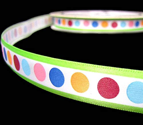 (3 Yds Fancy Pants About a Girl Colorful Polka Dot Green Stripe Satin Ribbon 5/8