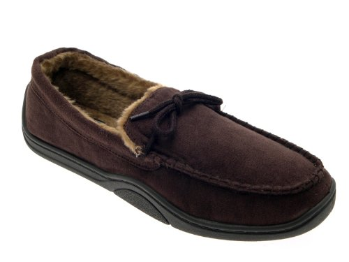 LD Outlet - Zapatillas de estar por casa de sintético para hombre marrón - marrón oscuro