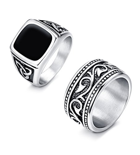 Steel Ring Vintage Stainless - Finrezio 2Pcs Mens Rings Stainless Steel Ring Vintage Black Silver Celtic Wedding Band for Men (13)