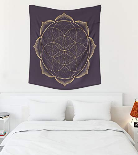Asdecmoly Big Tapestry, Huge Tapestry for Living Room and Bedroom 50 Lx60 W Inches Gold Monochrome Abstract Sacred Geometry Illustratiseed Flower Life L Art Printing Inhouse