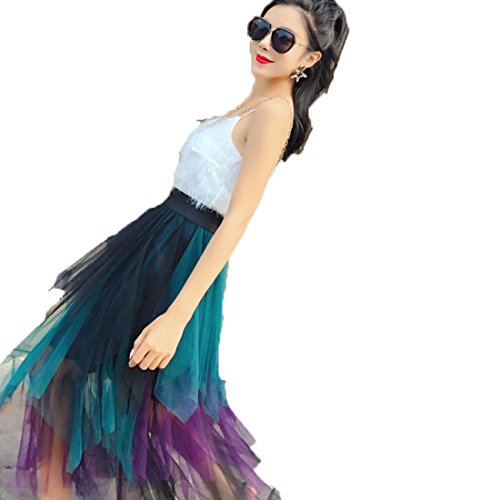 Jupe Splicing Moyen Longue Tendance Mode Contraste Couleur Violet Plisse Taille Deaman Jupe Haute t Mesh De Irrgulire PXxqwUS5CR