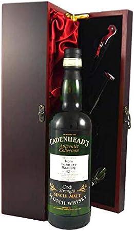 Tormore 12 year old Highland Malt Whisky 1984 Cadenhead's Cask Strength en una caja de regalo forrada de seda con cuatro accesorios de vino, 1 x 700ml
