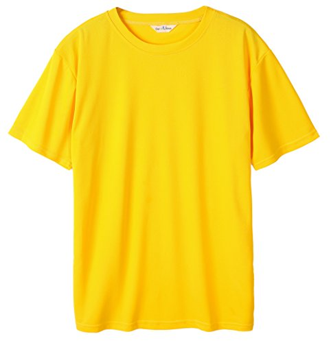 Our Precious Men's Summer Casual Short Sleeve Straight Fit Mesh Active Basketball Tee Shirt Yellow L (Solid Shirt Mesh)