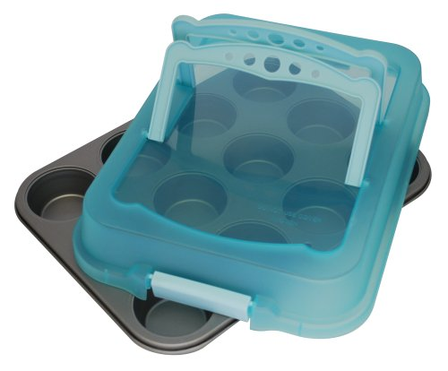 OvenStuff Non-Stick 12 Cup Muffin Pan with Matching Angel Blue Cover and Handles