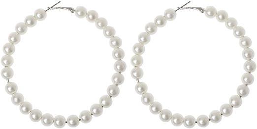 Women White Pearls Hoop Earrings Oversize Pearl Circle Fashion Jewelry
