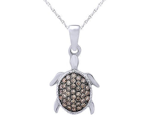 1/8 Carat Round Cut Champagne Natural Diamond Turtle Pendant Necklace in 10K Solid ()