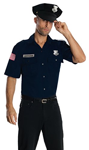 Rubie's Heroes And Hombres Police Uniform Shirt And Hat Costume, Blue, Standard for $<!--$17.47-->