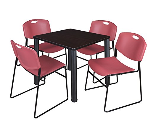 """Kee 30"""" Square Breakroom Table- Mocha Walnut/ Black & 4 Zeng Stack Chairs- Burgundy"""