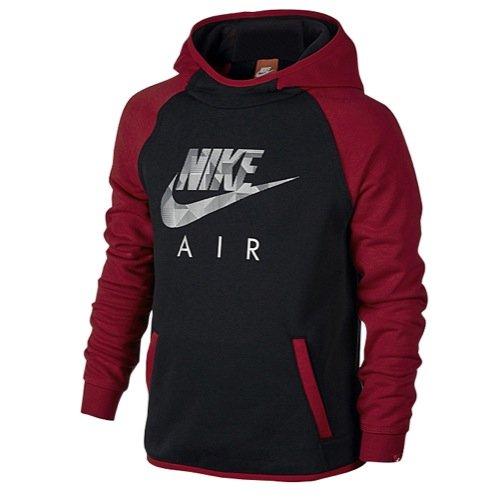 Nike Big Boys' (8-20) French Terry Flash Pullover Hoodie-Gym Red/Black-Medium