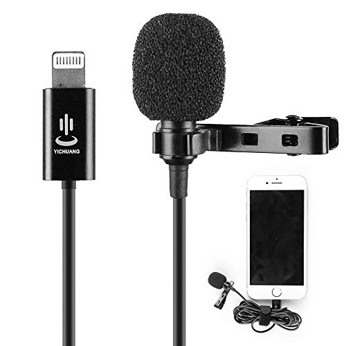 iPhone Microphone Professional Grade Lavalier Lapel Omnidirectional Phone Audio Video Recording Lavalier Condenser Microphone for iPhone X Xr Xs max 8 8plus 7 7plus 6 6s 6plus 5 / iPad(6M)