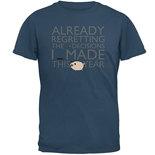 Animal World REGRETTING Decisions Pug New Year Denim Adult T-Shirt - - Denim Shirt Breed