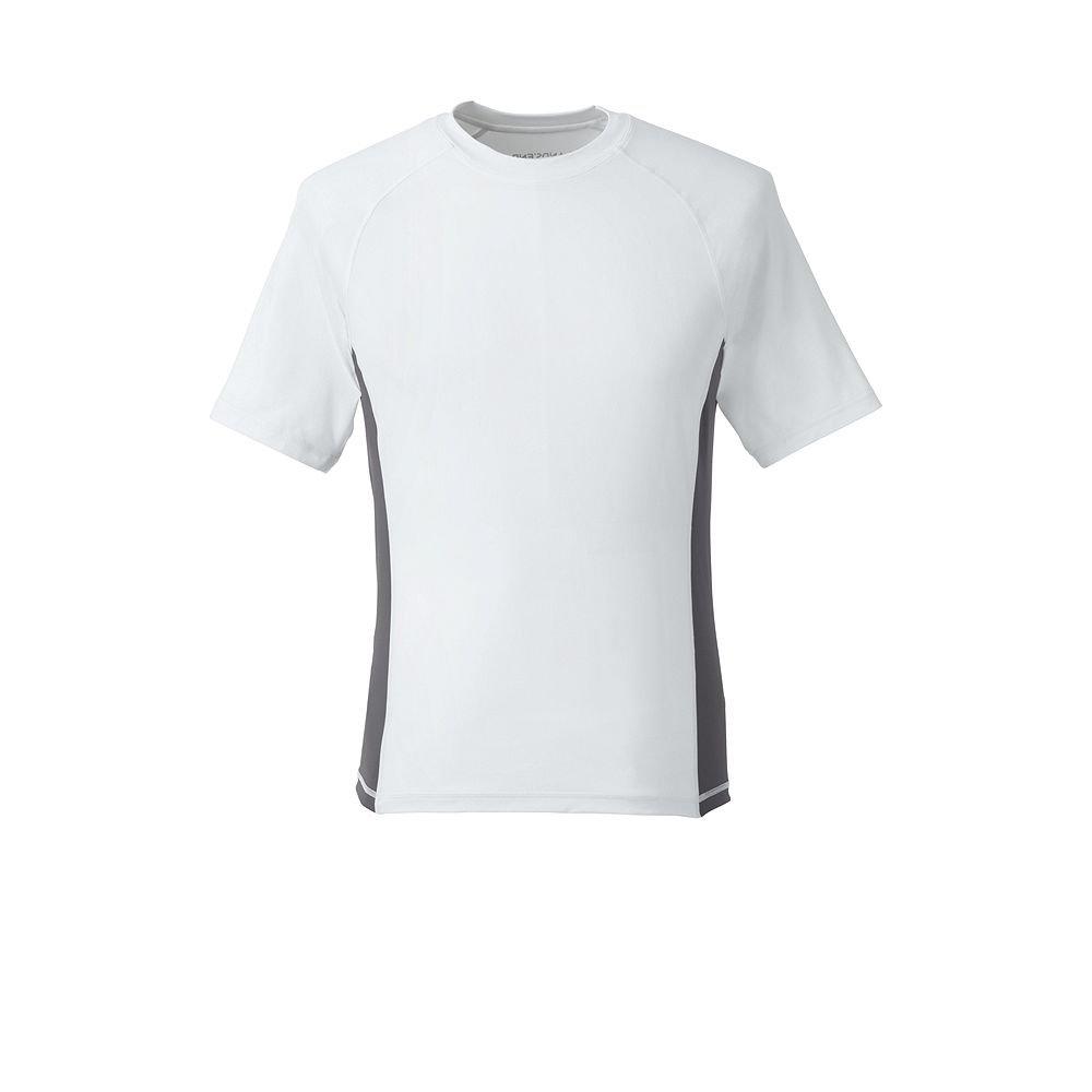 Lands' End Men's White Short Sleeve Swim Tee Rash Guard classic