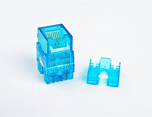CAT6 RJ45 Transparent Unshielded Keystone Jacks Module for Faceplate & Wall Box & Patch Panel, 12pcs/pack (Blue) (Faceplates Blue Transparent)