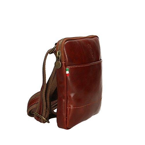 Marrón bolsa de Italy hombre in del 16x18x4 cuero Aren Cm Made auténtico Hombro gq6f7tw1