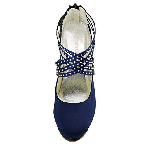 Satin Plate Bretelles En Mariage Chaussures Marine bout Talon Ronde Zip Forme EP11085 Femme De Bleu ElegantPark PF De Haut 7PBOgO