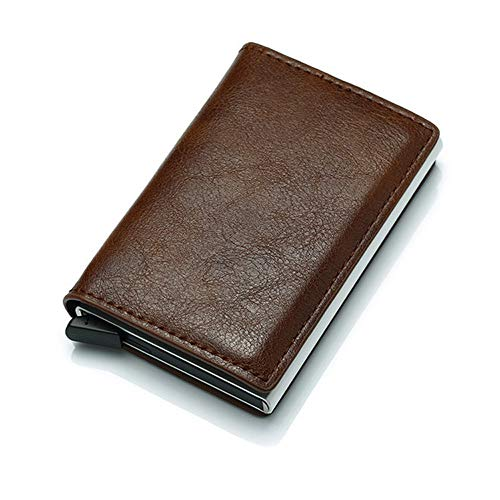 older Minimalist Slim Wallet RFID Front Pocket Card Protector with Leather Cover Metal Case for Men & Women, Coffee ()