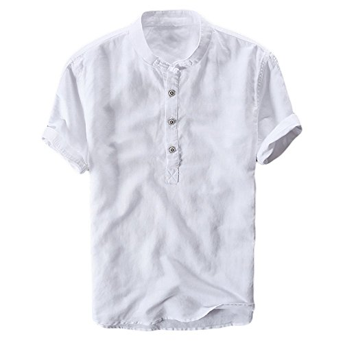 Karlywindow Mens Summer Casual Short Sleeve Henley Shirts Solid Ruffle Buttons Up Gentle Henley Tops White]()