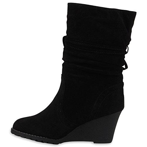 Stiefelparadies Damen Gefütterte Stiefel Keilstiefeletten Quasten Keilabsatz Schuhe Strass Wedges Boots Stulpen Stiefeletten Wildleder-Optik Flandell Schwarz Fransen