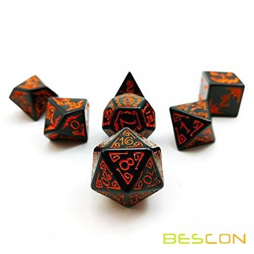 (Bescon Halloween Polyhedral Dice 7pcs Set, Halloween RPG Dice Set d4 d6 d8 d10 d12 d20 d% Set of 7 Halloween Dice-DND)