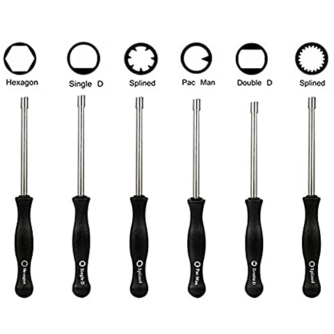 Paxcoo 6 Piece Carburetor Tune-up Adjustment Tool for Common 2 Cycle Small Engine, Included Pac Man/ Single D/ Double D/ Hexagon Socket/ 7 Teeth Splined/ 21-Teeth Splined