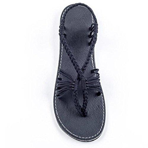 Flat Sandals Women Xjp Toe Beach Braided Black Fashion Rope Nylon Summer Clip 40qvg0x