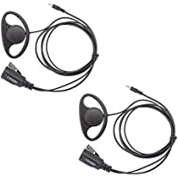 Lot 2 x Coodio D-Ring Earpiece Police Security Headset inline PTT Mic Microphone For 1 Pin Cobra MicroTalk 2 Way Radio Walkie Talkie