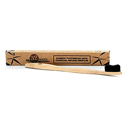 Bamboo Toothbrush with Charcoal Infused Bristles - 100% Biodegradable by 32Roots