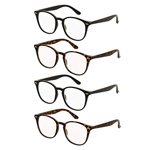 Reading Glasses 4 Pairs Comfort Fashion Matte Readers for Men and Women +2.75