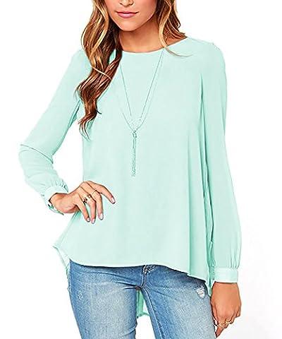SEENSUN Women's Casual Chiffon Button Tops Long Sleeve Folds Blouses Shirts Green XL (Long Sleeve Office)