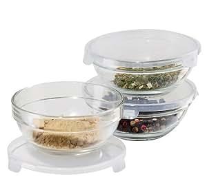 Amazon Com Oggi Glass Pinch Bowls Set Of 3 Mixing Bowls