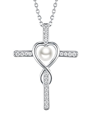 June Birthstone Gifts Love Infinity Cross Jewelry for Women Pearl Charm Necklace Anniversary Birthday Gift for Her Wife Girlfriend Fiancee, Grandma, Sterling Silver Swarovski Pendant,18