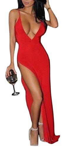 Neck Red Dresses Split Sexy Jaycargogo Strap Spaghetti Women Backless Club V Deep Maxi xfTxq7wWCY