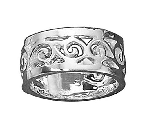 (Sterling Silver Unisex Scrolled Filigree Ring Size 8)