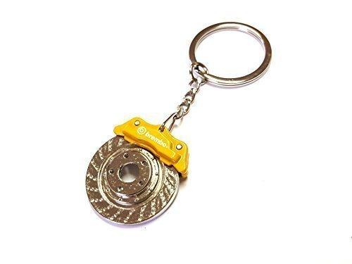 1x Bremse Bremsscheibe Bremsklötze Bremssattel Schlüsselanhänger aus Metall gelb Schlüssel KFZ PKW Sport mit rotierender Bremsscheibe Anhänger ca 9, 5 Lang & 3, 2 Breit ore 7882