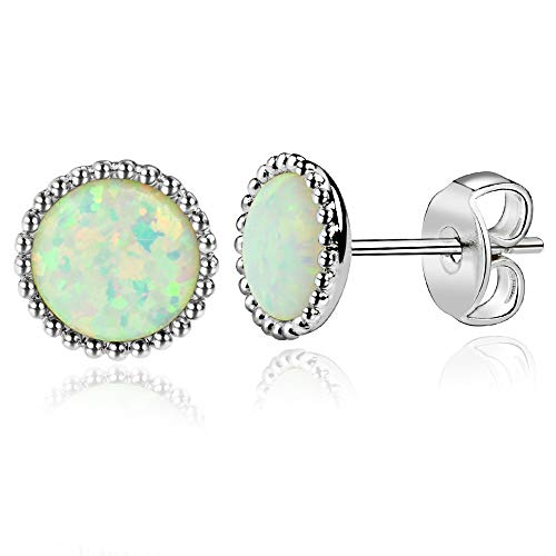 (MissDa White Gold Plated, White 6mm Round Opal Stud Earrings, Hypoallergenic Jewelry Surgical Stainless Steel Ear Post)