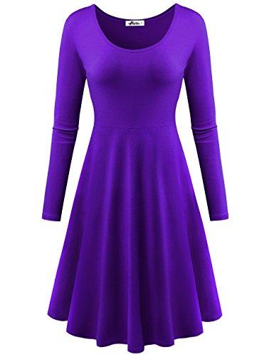 Herou Women Summer Beach Casual Flared Tank Dress (XX-Large, Long Sleeve Purple)